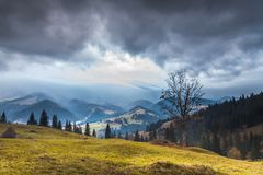 Storm clouds over the mountains Royalty Free Stock Photo