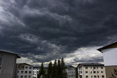 Storm clouds over neighborhood Royalty Free Stock Photo