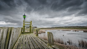 Storm clouds over the old port of schokland, Netherlands Royalty Free Stock Images