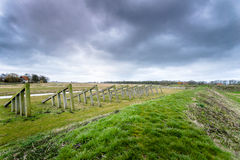 Storm clouds over the old port of schokland, Netherlands Royalty Free Stock Photography