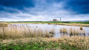 Storm clouds over the old port of schokland, Netherlands Stock Image
