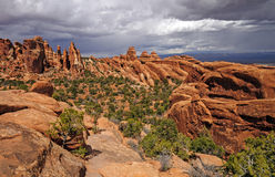 Storm Clouds Over Red Rocks Country Stock Photo