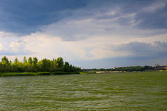 Storm clouds over river Dnieper Stock Photo
