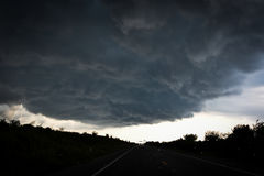 Storm clouds over the road. Stock Photo