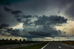 Storm clouds over the road. Stock Photography