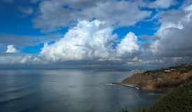Storm Clouds over the Santa Monica Bay, viewed from the Palos Verdes Peninsula, Los Angeles County, California. Huge rain clouds amass over the Santa Monica Bay stock photos