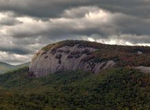 Storm Clouds over Tree covered mountain range Stock Images