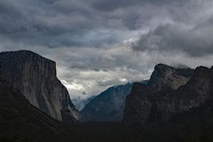 Storm Clouds Over Yosemite Valley stock photography