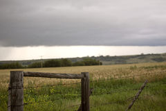 Storm Clouds Prairie Sky Fence Stock Images