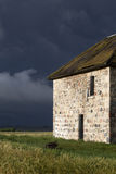 Storm Clouds Prairie Sky Stone House Stock Photography