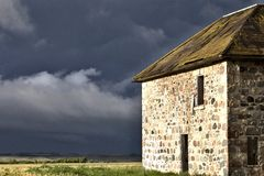 Storm Clouds Prairie Sky Stone House Royalty Free Stock Image