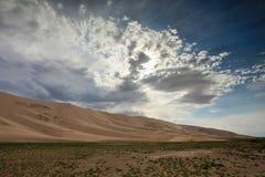 Storm clouds before rain in the Gobi Desert, dune Hongoryn, Mong Stock Image