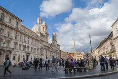 Storm clouds rain on Piazza Navona Stock Photo