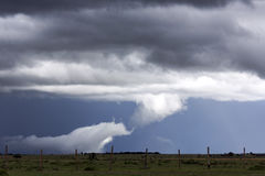 Storm clouds with rain shower over the savannah Stock Photo