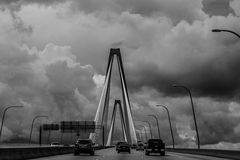 Storm Clouds on the Ravenel Bridge, Charleston, SC. Stock Photography