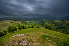 Storm clouds in the Romanian Carpathian mountain Royalty Free Stock Photo