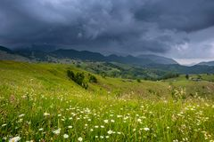 Storm clouds in the Romanian Carpathian mountain during summer time Stock Photos