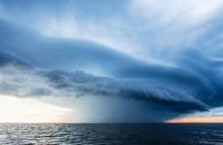 Storm clouds on the sea. Storm clouds before the storm on the sea Royalty Free Stock Photo