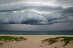 Storm Clouds At The Shore. Storm clouds approaching the shore at Race Beach, Cape Cod Stock Photography