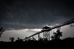 Storm clouds and skywalk. Stock Photography