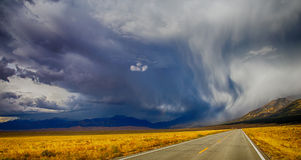 Highway storm. Stormy Clouds over the Great Sand Dunes National Park, Colorado,USA