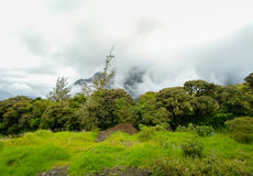 Storm clouds with sun over tungurahua volcano in Banos, Ecaudor Royalty Free Stock Photography