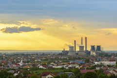 Storm clouds at sunset, above Craiova city Stock Image