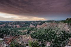 Storm Clouds and Sunset Over Palo Duro Stock Photos