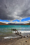 Storm clouds and waves at the Laguna Azul. Stock Photo