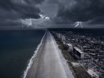Storm in the coast of Florida. Electrical storm approaching the coast of Florida stock image