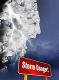 Storm is Coming. Dangerous storm cloud shaped in human head form. Human face storm cloud with lighting strike and storm danger sign Royalty Free Stock Photo