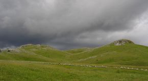 Storm is coming. Green hills and mountains in Zabljak, Montenegro Royalty Free Stock Photos
