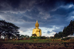 Storm is coming backside big Buddha. Royalty Free Stock Image