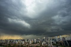 The storm is coming.  Hurricane. Ground and sky. Cityscape. Sao Paulo city landscape, Brazil stock photo