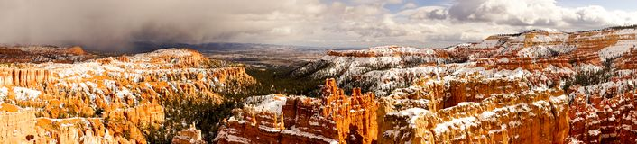 Fresh Snow Blankets Bryce Canyon Rock Formations Utah USA Storm royalty free stock photo