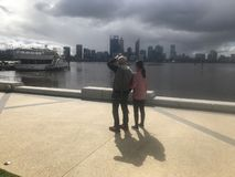 Storm coming perth city by swan river stock photo
