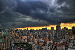 Storm coming. Sao Paulo skyline in the afternoon. Stock Image