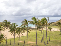 The Storm coming to Anakena beach. A storm close to Anakena beach and the Ahu Nau Nau in Easter Island stock image