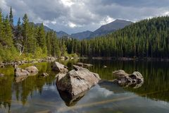 Storm Coming to Rocky Alpine Lake Stock Photography
