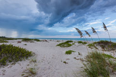 Storm is coming. A storm is coming up the beach Royalty Free Stock Images