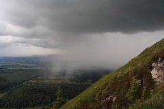 The storm is comming. Tracking on a path to the Puy Dome top,Auvergne, France. The storm is approaching Stock Photos