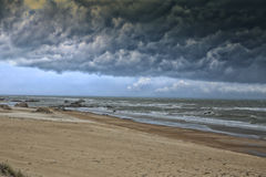 Storm is comming. The big cloud on sea Royalty Free Stock Images