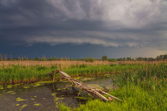 Storm cyclone over the beautiful countryside river Stock Photo