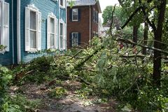 Storm Damage Close to House Royalty Free Stock Images