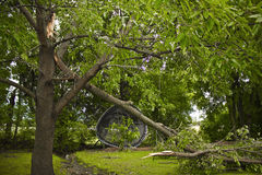 Storm Damage Tree and Trampoline. Storm Damage Tree and Broken Branch Royalty Free Stock Photos
