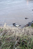 Storm damaged danger sign Royalty Free Stock Images