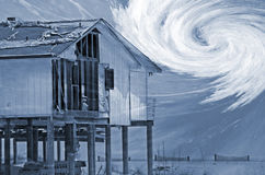 Storm damaged house composite stock photography