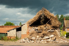 Storm damaged thatch Stock Photo
