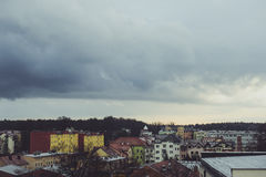 Storm dark clouds over city Royalty Free Stock Image