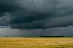 Storm dark clouds over field Stock Photos